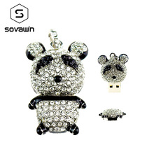 Sovawin Cute Panda Crystal Metal usb Flash Drive Jewelry Pendrive 64 gb 32gb 16gb Mini Memory Stick With Necklace