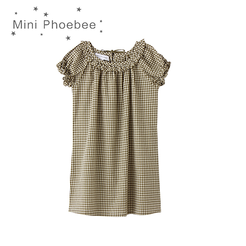 2-8 years little girls dress Cotton baby kids clothing dresses for girls Bow Flounced neckline Plaid Olive green yellow dresses<br>