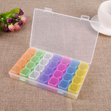 28 Slots Plastic Empty Storage Box Individual with Cap Nail Art Rhinestones Decorations Jewelry Beads Display Organizer Case