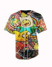 Real American Size  adventure time 3D Sublimation Print Custom made Button up baseball jersey plus size