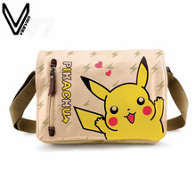 2016 Hot Sale Pokemon Shoulder Bags Pikachu Alliance Horde Canvas Twill Bag Schoolbag Messenger Bags For Boy Girls Anime Bag