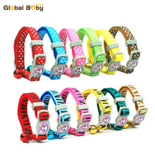 Hot Sale 1.0cm Nylon Cat Collar Dot/Bebra Style Pet Dog Puppy Cat Collar with Bell(China)
