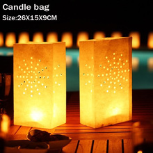 50pcs/lot Sun Shine Tea Light Holder Luminaria Paper Lantern Candle Bag For BBQ Christmas Party Home Outdoor Wedding Decoration