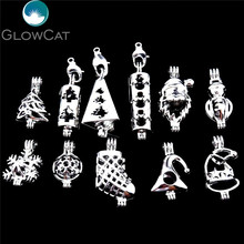 21843 Christmas Stone Beads Cage Stocking Boots Tree Santa Snowflake Snowman Hats Locket Essential Oil Diffuser Jewelry Making(China)