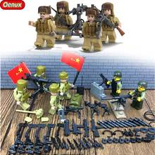 Oenux The Korean War Military Scenes 60PCS National Liberation Army VS US Army Figures Building Block Set DIY Bricks Toy For Kid