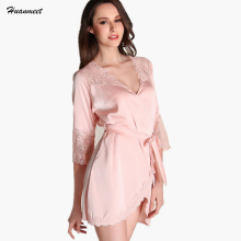 Buy Women Nightdress Robe Sexy Lingerie Sleepwear Bathrobe Lace Mini Bridesmaid Robes Sexy Satin Nightgown Night Dress Housecoat