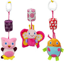 Butterfly ladybug owl lathe hanging baby toys Infant Rattles kids handbells Baby Crib Stroller Toy 0-12 months Plush toy TO89(China)
