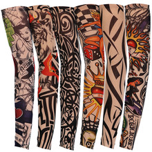 1PC New Style Nylon Elastic Fake False Temporary Tattoo Sleeve Designs Body Arm Stockings Tatoo for Cool Men Women(China)