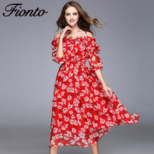 FIONTO New Ruffles Slash Neck Women Dress Summer Style Off the Shoulder Sexy Dresses Vestidos Red Tube Beach Dress Silk F249