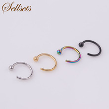 Sellsets Body Jewelry 100pcs/lot 6/8/10mm Titanium Anodized Stainless Steel Nose Piercing Ball Hoop Nose Rings And Studs