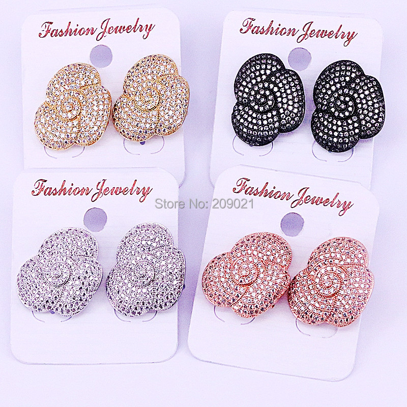 5Pairs Fashion Flower shape Cubic Zirconia Stud Earrings, Charming CZ Micro Pave Jewelry Earrings For Women