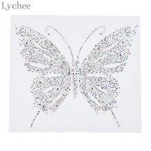 Lychee Colorful Butterfly Hotfix Rhinestone Heat Transfer Iron On Rhinestone  Motif Embellishment For Garment Bags 053be89684e2