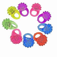 2017 New 50pcs/lot Luminescent Strawberry Ring Silica Gel Soft Finger Ring Lights Led Light Party Wedding Birthday Decoration(China)