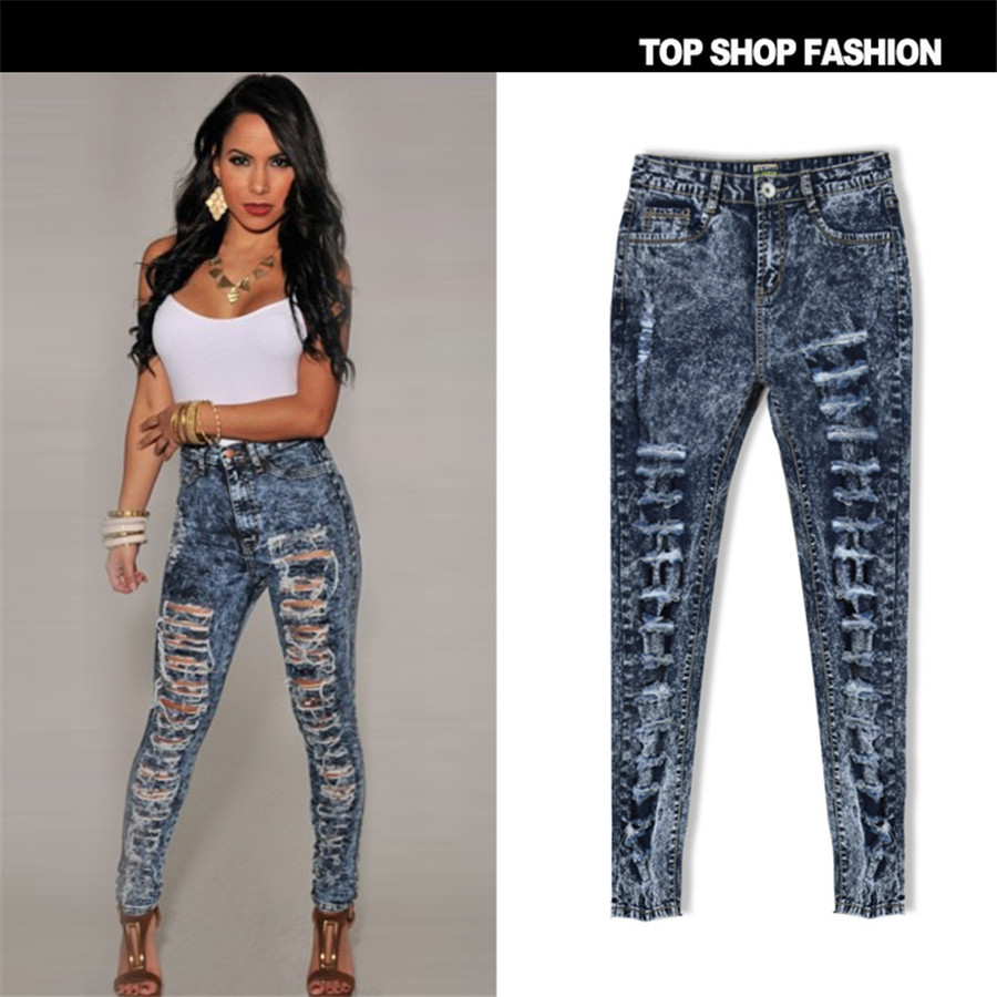 New Fashion Ripped Jeans Femme Casual Washed Holes Boyfriend Jeans for Women Regular Torn Jeans Wild Denim PantsОдежда и ак�е��уары<br><br><br>Aliexpress