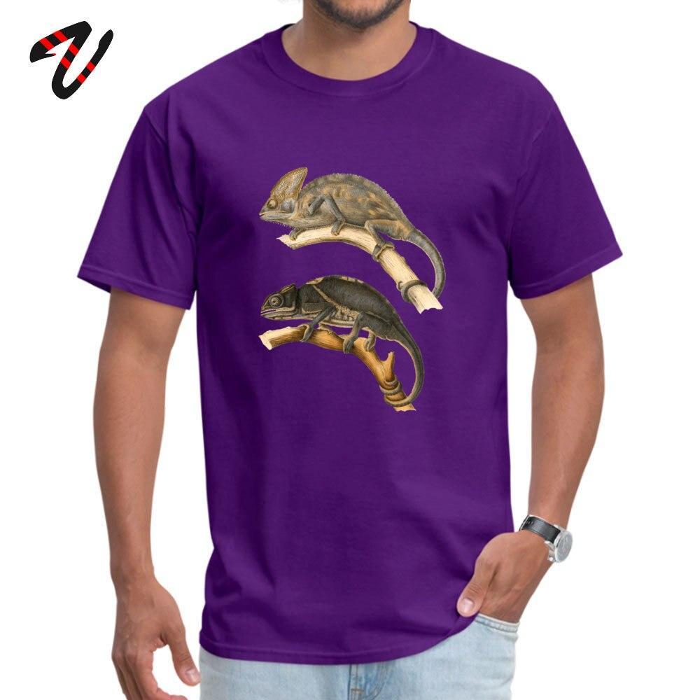 Chameleon Scientific Illustration Summer Cotton Round Neck Tops Tees Short Sleeve Funny Sweatshirts New Arrival Top T-shirts Chameleon Scientific Illustration 12047 purple