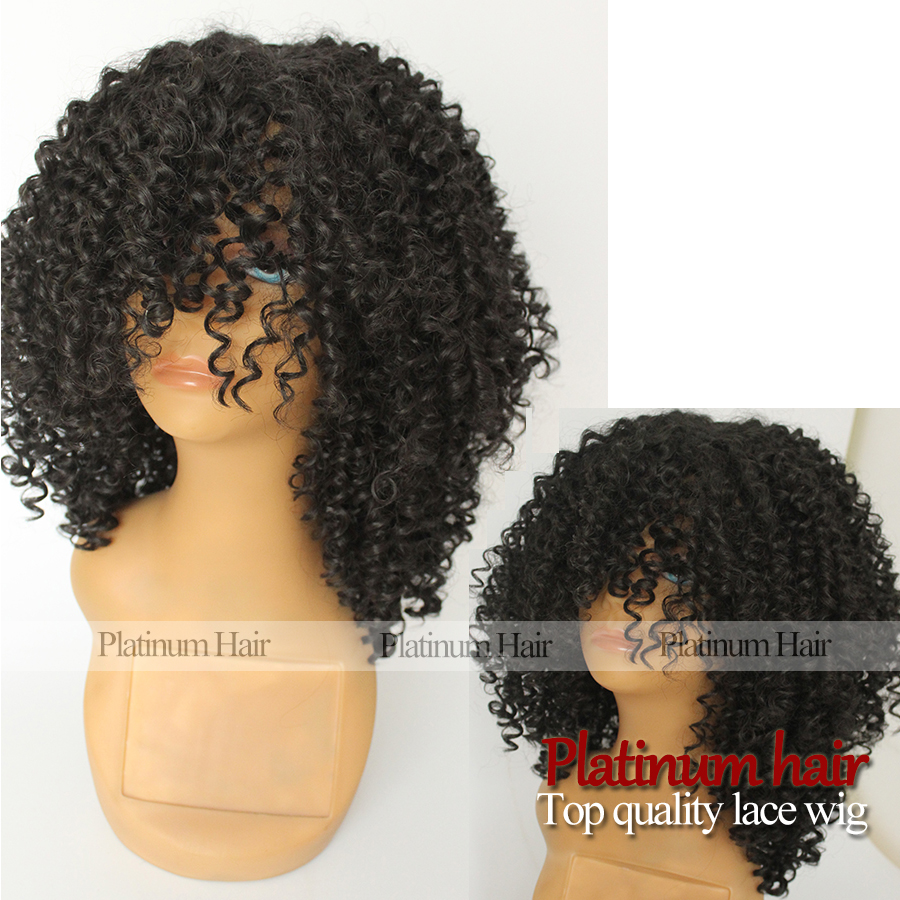 2017 wholesales synthetic kinky curly hair heat resistant none lace with bangs glueless synthetic no lace curly wig for women<br><br>Aliexpress