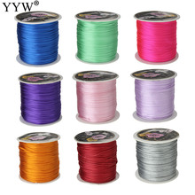 Wholesale 70M/Spool 1MM Mix Color Nylon Black Satin Chinese Knotting Silky Macrame Cord Beading Shamballa  Braided String Thread
