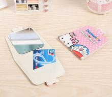 (5 Pcs/Lot) Kawaii Cartoon Hello Kitty And Doraemon Makeup Mirror With Pu Leather Case Color Random No Choose(China)