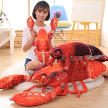1PC Two Sizes Simulation Big Lobster Plush Toys Funny Stuffed Animal Performance Props Kids Dolls Creative Birthday Gift
