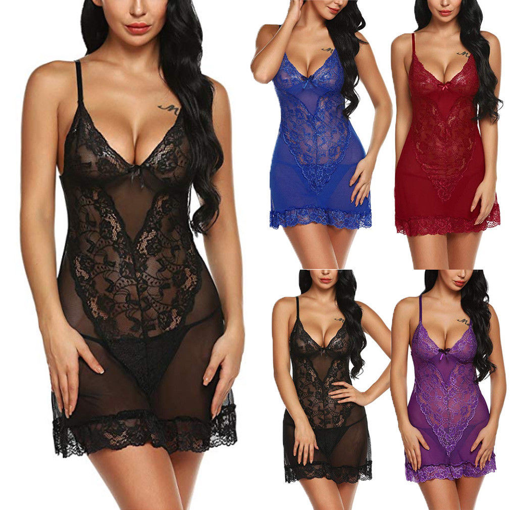 Plus Size Sexy Fashion Women Lingerie Lace Dress Underwear Babydoll Sleepwear G-string Nightwear Set Dress(China)