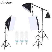 US DE STOCK Photography Photo Lighting Kit with 5500K 135W Daylight Studio Bulb Light Stand Square Cube Softbox Cantilever Bag(China)