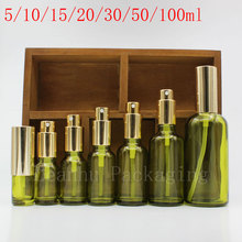 Green Glass Essential oil Bottles Pure Dew Perfume Essential oil Spray Bottle The Black Lid Empty Cosmetics Packaging Containers
