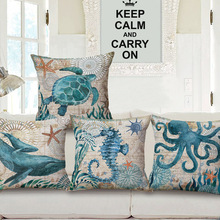 "18"" Square Vintage Marine Ocean Life Sea Turtle Linen Sea Horse Dolphin Sofa Throw Cushion Cover Octopus Home Decor Pillows Case"