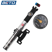 BETO Bicycle Pump Portable Mini Ultra-ligh Aluminum Alloy Pump Telescopic Concealed Tube With Barometer 100PSI for AV/FV