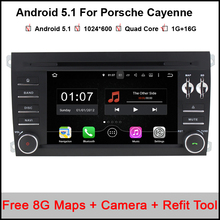 1024X600 Android 5.1.1 Quad Core A9 1.6GHz CPU 16GB Flash Car DVD Player for Porsche Cayenne 2003-2010 3G Wifi Stereo System BT