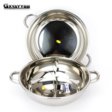 1Pcs Hot Pot Twin Divided Stainless Steel 30/32/34cm Cookware Little Sheep Hot Pot Ruled Compatible Soup Stock Pots Home Kitchen(China)