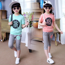 Girls Set Summer New Child Sets Green Pink Color Short Sleeved T Shirt +pants Seven Letters Sport Sets 3-12 Ages