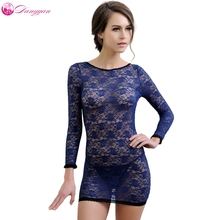 DangYan hot plus size lace transparent long sleeves sexy teddy erotic dress with G-string sexy costumes sex product(China)