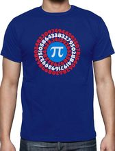 Tee Shirts Hipster Crew Neck Graphic Pi Day Superhero Captain Pi Gift For Math Geeks Pi Symbol Short Sleeve T Shirts For Men(China)