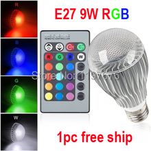 High quality 9W RGB LED Bulb AC85-265V E27 Color Changeable RGB LED Lamp with IR remote control free shipping(China)