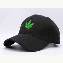 New Embroidered Leaves Baseball Cap Hats Black White Curved Bill Snapback Hats Hip Hop Dad Caps Summer Gorras(China)