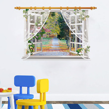 3 d Windows forest landscape wall stickers,Bedroom living room wall stickers Fashion waterproof Creative woods Poster stickers