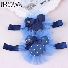 Little Girl Fashion Elegant Denim Fabric Jeans Big Bow Knot Headband Ears Hair Tie Head Ornaments Hair Band Hair Accessory