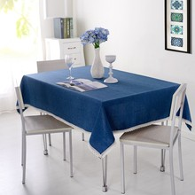 1-Piece Solid Color Tablecloth For Dining Table Cloth Rectangle Table Linen Table Cover For Tea Table Lake 90*90cm 7 Colors(China)