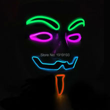 20 Type LED EL wire Movie Mask  Novelty Lighting neon Flashing Mask For Festival Wedding decoration