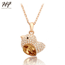 Top Quality N053 Orange Fat Bird Necklace Rose Gold Color Fashion Jewellery Nickel Free Pendant Crystal(China)