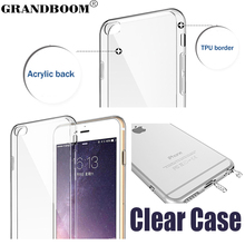 GRANDBOOM Ultra Thin Slim Acrylic Soft TPU Clear Transparent With Dust Plug Back Case Cover for Apple iPhone 7 Plus 6 6S SE 5 5S