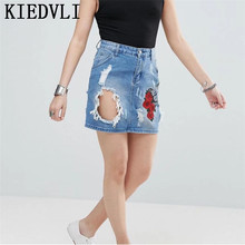 KIEDVLI Fashion Blue Hole Denim Skirt Women Summer Ripped Floral Embroidery Skirts Ladies Casual Short Jean Skirt Destroyed 9753(China)