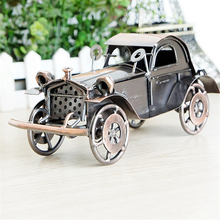 Two-color Black Bronze Antique Car Model Craft Iron Material Old Vehicle Livingroom Decorations Article Presents for Children(China)