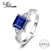 JewelryPalace Square 2.35ct Created Blue Sapphire Ring Solid 925 Sterling Silver Rings For Women Wedding Gift Brand Fine Jewelry(China)