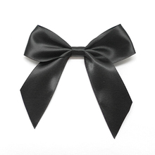 "Free Shipping 500pcs/lot Black Pre-Tied Satin Bows 7/8"" Ribbon x 3"" Bow Width(China)"