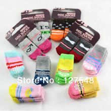 New 4 pcs / lot = 1 sets / lot Indoor Pet Dog Soft Cotton Anti-slip Knit Weave Warm Sock Skid Bottom Dog Shoes Drop shipping