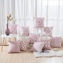 Drop Ship Home Decor Embroidered Cushion Cover Pink Geometric Canvas Cotton Square Embroidery Pillow Cover 45x45cm Pillow Case(China)