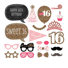 Free Shipping 20pcs/lot Photo Booth Props Photobooth For 16th Birthday Party Decoration Sweet 16 Event & Party Supplies