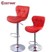 COSTWAY 2pcs Red PU Leather Modern Adjustable Bar Stool Swivel Chair Bar Chair Commercial Furniture Bar Tool HW48529