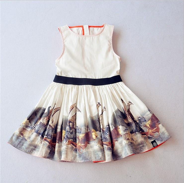 2017 Quality Teen Girls Summer Dress Sleeveless Elk Print 100% Cotton Kids Girls Dress 6 - 16 years old<br><br>Aliexpress